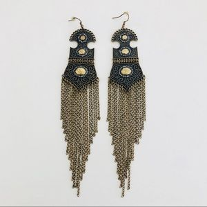 Jewelry - Long Brass and Copper Dangle Earrings